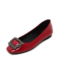Женщины PU Плоский каблук На плокой подошве Закрытый мыс с горный хрусталь обувь (086139676)
