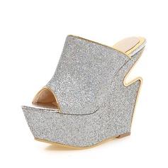 Mulheres Espumante Glitter Plataforma Sandálias Chinelos sapatos (087084245)