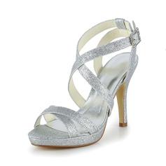 Kvinder Mousserende Glitter Stiletto Hæl Kigge Tå sandaler (047039416)