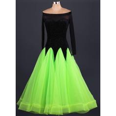 Женщины Одежда для танцев бархат Органза Латино Балетное трико (115086091)