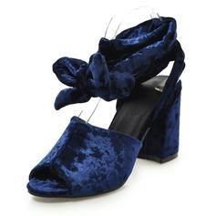 Женщины Замша Устойчивый каблук Сандалии На каблуках с бантом обувь (087155488)
