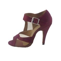 Женщины Атлас На каблуках Сандалии Латино с пряжка Обувь для танцев (053047215)