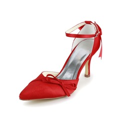 Vrouwen Satijn Stiletto Heel Closed Toe Pumps met Strik Gesp (047005112)