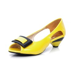 Women's Leatherette Low Heel Sandals Pumps Peep Toe With Buckle shoes (087046825)
