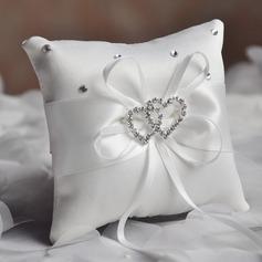 Elegant Ring Kissen in Satin/Polyester mit Bogen/Liebevolle Herzen (103190780)