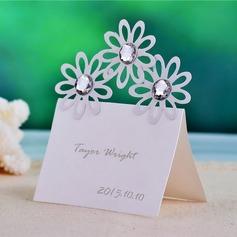 Diseño de la flor Papel perlado Tarjetas del lugar (juego de 12) (050039051)