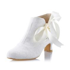 Женщины кружева Каблук Закрытый мыс На каблуках с Шнуровка (047041535)