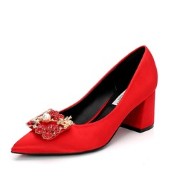 Kvinner Satin Stor Hæl Pumps Lukket Tå med Rhinestone Imitert Perle sko (085155253)
