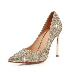 Женщины Мерцающая отделка Высокий тонкий каблук На каблуках Закрытый мыс обувь (085070193)