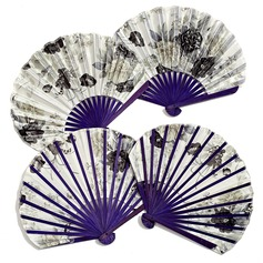 Floral Design Bamboo/Silk Hand fan (Set of 4) (051052156)