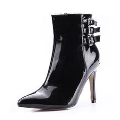 De mujer Piel brillante Tacón stilettos Botas al tobillo con Hebilla zapatos (088036351)