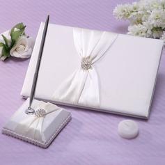 Bonito Strass/Arco Livro de visitas & conjunto de canetas (101037370)