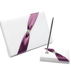 Bonito Strass/Arco Livro de visitas & conjunto de canetas (101025785)