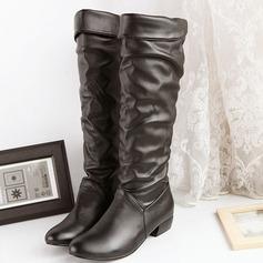 Женщины кожа Устойчивый каблук Сапоги до колен с Соединение врасщеп обувь (088103147)