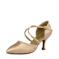 Женщины Атлас Шелковые На каблуках Сандалии Бальные танцы Обувь для танцев (053115436)