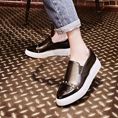 Женщины PU Плоский каблук На плокой подошве Платформа с Эластичный бинт обувь (086145707)