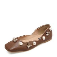 Женщины Кожа из микроволокна Плоский каблук На плокой подошве Закрытый мыс с Имитация Перл обувь (086134741)