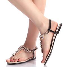 Mulheres Couro Sem salto Sem salto Sandálias Beach Wedding Shoes com Fivela Strass (047125410)