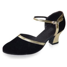 Mulheres Couro Nubuck Saltos Bombas Salão de Baile com Fivela Sapatos de dança (053021382)