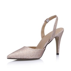 Женщины кожа Мерцающая отделка Круглый зауженный каблук На каблуках Закрытый мыс Босоножки обувь (085026440)