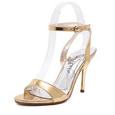 Женщины кожа Высокий тонкий каблук Сандалии обувь (087086203)