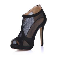 Suede Stiletto Heel Sandalen Plateau Peep Toe Enkel Laarzen met Rits schoenen (085026362)