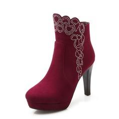 Женщины Замша Высокий тонкий каблук Полусапоги обувь (088074432)