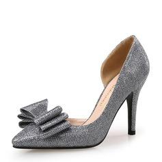 Женщины кожа Высокий тонкий каблук На каблуках Закрытый мыс с бантом обувь (085147462)