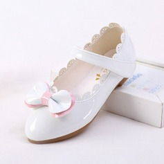 Jentas Microfiber Lær flat Heel Lukket Tå Flate sko med Bowknot Velcro Ruched (207123064)