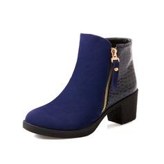 Camurça Couro Salto robusto Bota no tornozelo com Zíper sapatos (088054452)