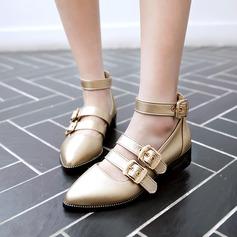 Женщины кожа Низкий каблук На плокой подошве На каблуках Закрытый мыс Mary Jane с пряжка обувь (086120709)
