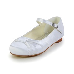 Kids' Satin Flat Heel Closed Toe Flats With Buckle Ruched (047031803)
