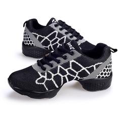 Женщины ткань Танцевальные кроссовки Танцевальные кроссовки с Шнуровка Обувь для танцев (053105678)