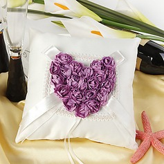 Ring Pillow in Satin With Red Rose Heart (103018247)