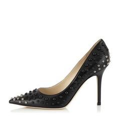 Женщины кожа Высокий тонкий каблук На каблуках Закрытый мыс с пряжка обувь (085148362)