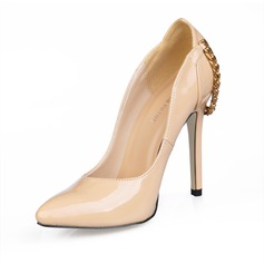 Women's Patent Leather Stiletto Heel Pumps Closed Toe With Chain shoes (085016480)