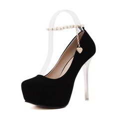 Женщины Замша Высокий тонкий каблук На каблуках Платформа Закрытый мыс с Имитация Перл Цепь обувь (085127520)