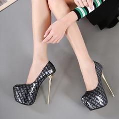 Женщины кожа Высокий тонкий каблук На каблуках Закрытый мыс с Животных печати обувь (085120535)