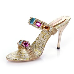 Pailletes scintillantes Talon stiletto Sandales Escarpins avec Strass chaussures (087040962)