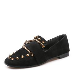Женщины Замша На плокой подошве Закрытый мыс с заклепки обувь (086165196)
