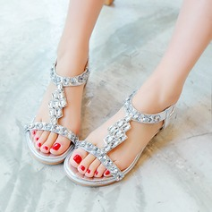Women's Leatherette Chunky Heel Sandals Peep Toe Slingbacks With Rhinestone Elastic Band shoes (087124618)