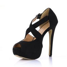 Camurça Salto agulha Sandálias Plataforma Peep toe com Fivela sapatos (085022615)