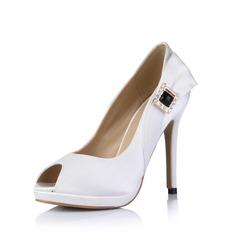 Mulheres como o cetim de seda Salto agulha Peep toe Plataforma Sandálias com Fivela Strass (047026432)