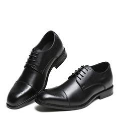 Мужская натуральня кожа Cap Toes шнуровка Платья Men's Oxfords (259171636)
