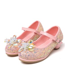 Jentas Round Toe Sparkling Glitter lav Heel Pumps Flower Girl Shoes med Rhinestone (207149136)