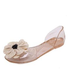 Kvinner PVC Flate sko Titte Tå med Blomst sko (086165218)