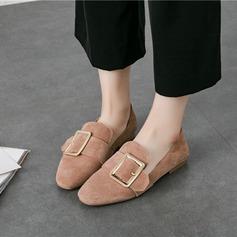Женщины Замша Плоский каблук На плокой подошве Закрытый мыс с пряжка обувь (086142456)