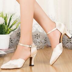Женщины Шелковые Сандалии Бальные танцы с Ремешок на щиколотке Обувь для танцев (053113244)