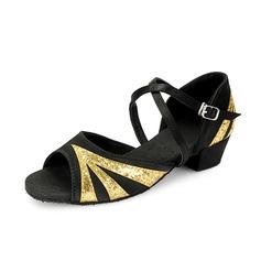 Детская обувь Атлас Мерцающая отделка На каблуках Сандалии Латино с Ремешок на щиколотке Обувь для танцев (053058437)