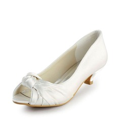 Women's Satin Low Heel Peep Toe Sandals With Bowknot (047016504)